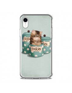 Coque iPhone XR Chaton Chat Kitten Boite Cookies Pois - Maryline Cazenave
