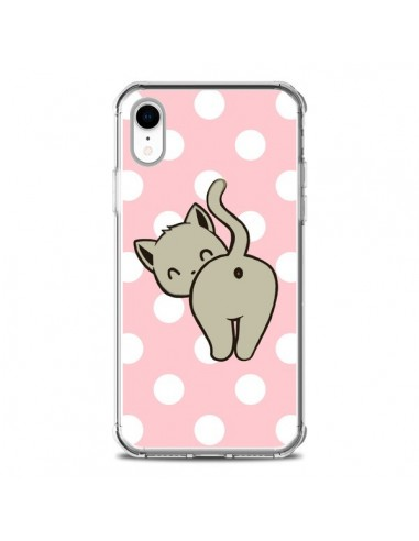 Coque iPhone XR Chat Chaton Pois -...