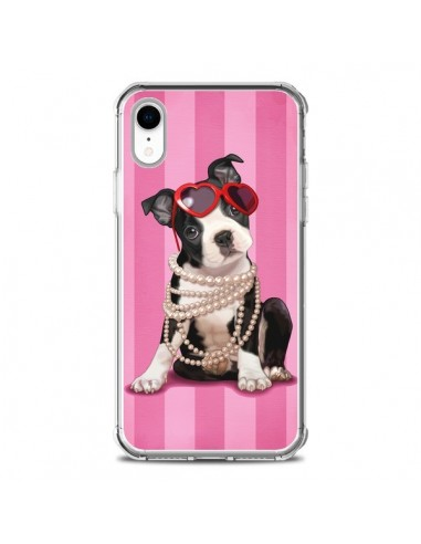 Coque iPhone XR Chien Dog Fashion Collier Perles Lunettes Coeur - Maryline Cazenave