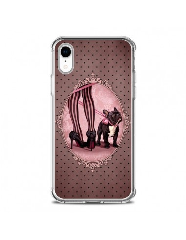 Coque iPhone XR Lady Jambes Chien Dog Rose Pois Noir - Maryline Cazenave