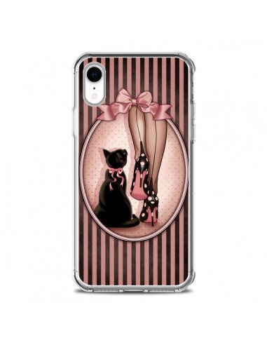 Coque iPhone XR Lady Chat Noeud Papillon Pois Chaussures - Maryline Cazenave