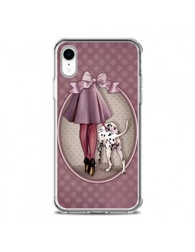 Coque iPhone XR Lady Chien Dog Dalmatien Robe Pois - Maryline Cazenave