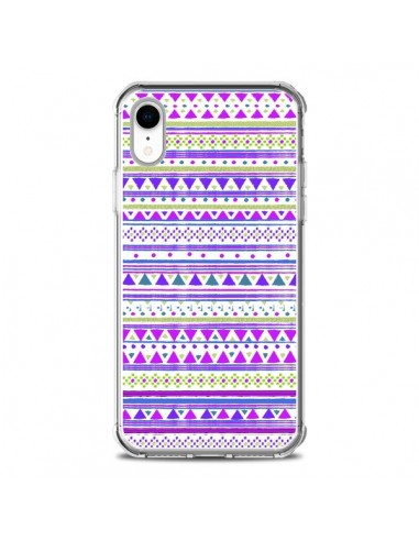 Coque iPhone XR Bandana Violet Azteque - Monica Martinez
