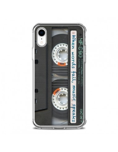 Coque iPhone XR Cassette Words K7 -...