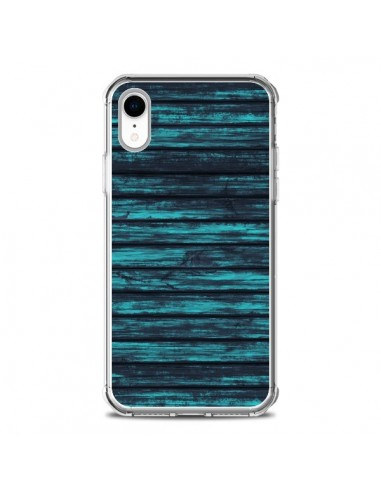 Coque iPhone XR Blue Moon Wood Bois -...