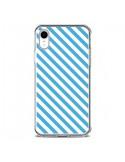 Coque iPhone XR Bonbon Candy Bleue et Blanche Rayée - Nico
