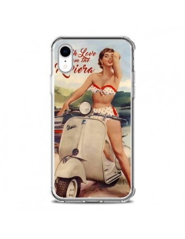 Coque iPhone XR Pin Up With Love From the Riviera Vespa Vintage - Nico