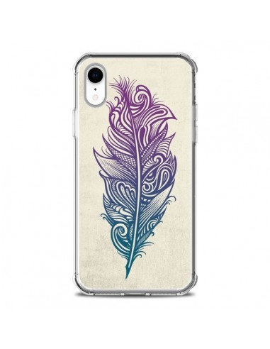 Coque iPhone XR Feather Plume Arc En Ciel - Rachel Caldwell
