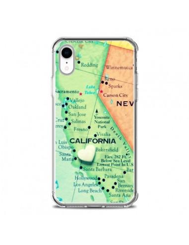 Coque iPhone XR Carte Map Californie - R Delean