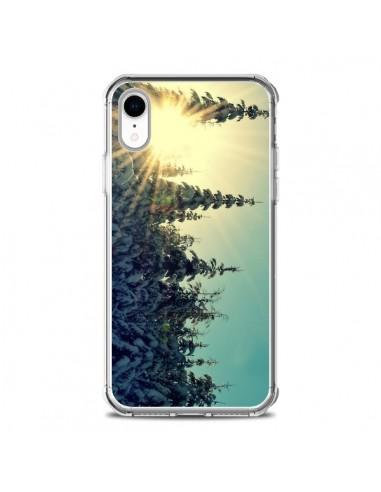 Coque iPhone XR Hiver Paysage Neige Montagnes Sapins Ski - R Delean