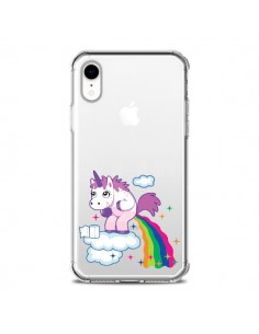 Coque iPhone XR Licorne Caca Arc en Ciel Transparente souple - Nico