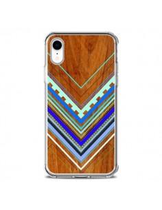 Coque iPhone XR Azteque Arbutus Blue Bois Aztec Tribal - Jenny Mhairi
