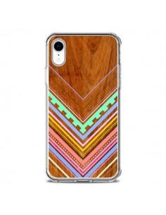 Coque iPhone XR Azteque Arbutus Pastel Bois Aztec Tribal - Jenny Mhairi