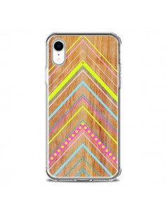 Coque iPhone XR Wooden Chevron Pink Bois Azteque Aztec Tribal - Jenny Mhairi
