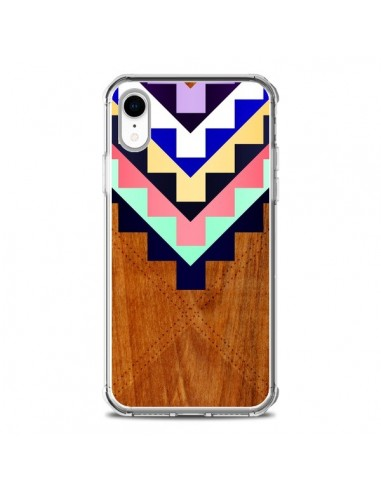 Coque iPhone XR Wooden Tribal Bois...