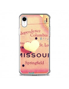Coque iPhone XR Carte Map Missouri Coeur - R Delean