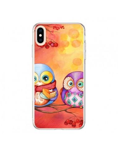 Coque iPhone XS Max Chouette Arbre -...