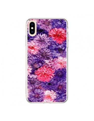 Coque iPhone XS Max Fleurs Violettes Flower Storm - Asano Yamazaki