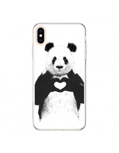 Coque iPhone XS Max Panda Amour All you need is love - Balazs Solti