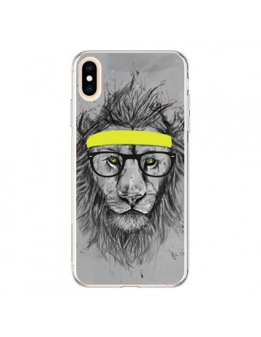 Coque iPhone XS Max Hipster Lion - Balazs Solti