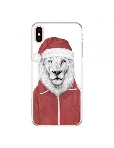 Coque iPhone XS Max Santa Lion Père Noel - Balazs Solti