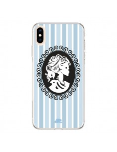 Coque iPhone XS Max Camée Squelette Bleue - Enilec