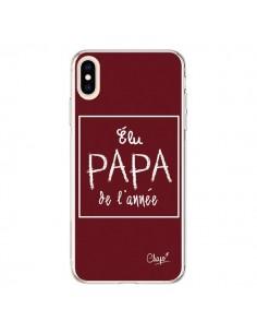 Coque iPhone XS Max Elu Papa de l'Année Rouge Bordeaux - Chapo