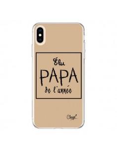 Coque iPhone XS Max Elu Papa de l'Année Beige - Chapo