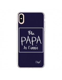 Coque iPhone XS Max Elu Papa de l'Année Bleu Marine - Chapo