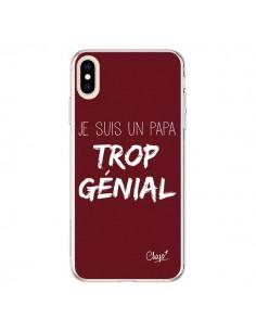 Coque iPhone XS Max Je suis un Papa trop Génial Rouge Bordeaux - Chapo