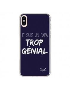 Coque iPhone XS Max Je suis un Papa trop Génial Bleu Marine - Chapo