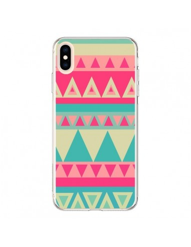 Coque iPhone XS Max Azteque Rose Vert - Eleaxart