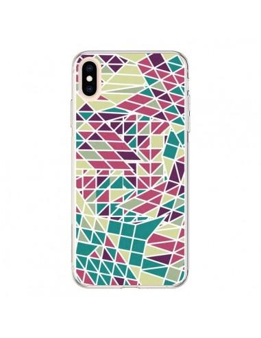 Coque iPhone XS Max Azteque Triangles Vert Violet - Eleaxart