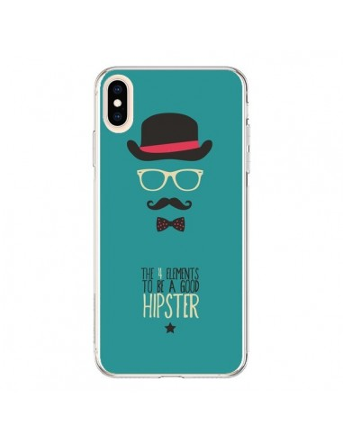 Coque iPhone XS Max Chapeau, Lunettes, Moustache, Noeud Papillon To Be a Good Hipster - Eleaxart