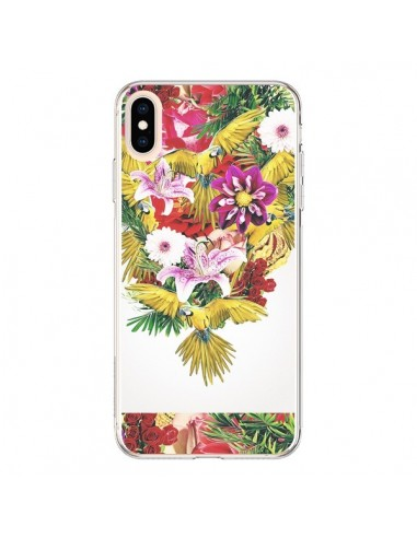 Coque iPhone XS Max Parrot Floral Perroquet Fleurs - Eleaxart