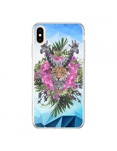 Coque iPhone XS Max Girafes Lion Tigre Jungle - Eleaxart