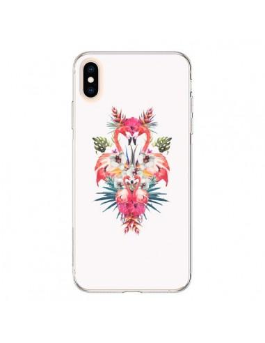 Coque iPhone XS Max Tropicales Flamingos Tropical Flamant Rose Summer Ete - Eleaxart