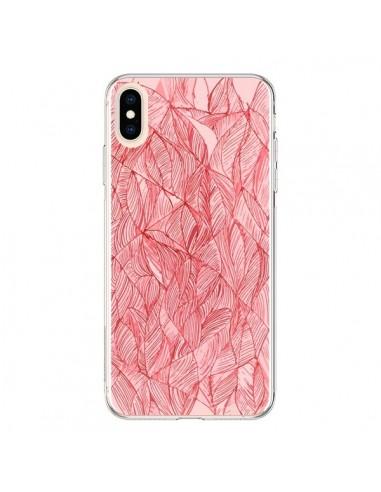 Coque iPhone XS Max Courbes Meandre Rouge Cerise - Léa Clément