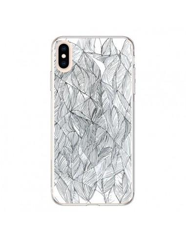 Coque iPhone XS Max Courbes Meandre Blanc Noir - Léa Clément