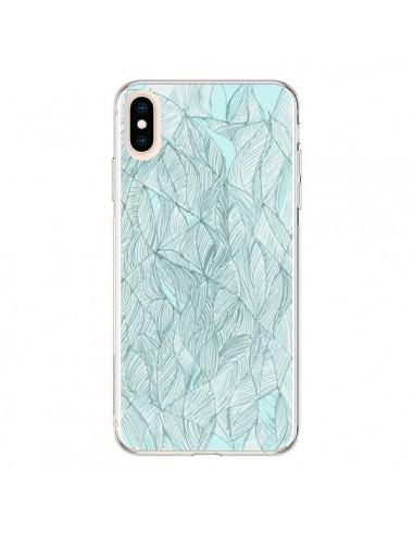 Coque iPhone XS Max Courbes Meandre Bleu Vert Nuageux - Léa Clément