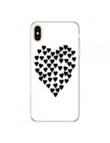 Coque iPhone XS Max Coeur en coeurs noirs - Project M