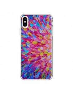 Coque iPhone XS Max Fleurs Bleues Roses Splash - Ebi Emporium