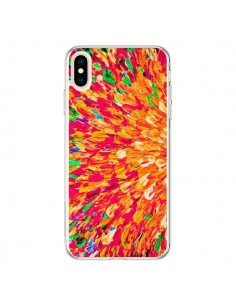 Coque iPhone XS Max Fleurs Oranges Neon Splash - Ebi Emporium