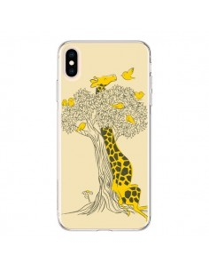 Coque iPhone XS Max Girafe Amis Oiseaux - Jay Fleck