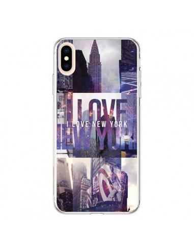 Coque iPhone XS Max I love New Yorck City violet - Javier Martinez