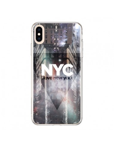 Coque iPhone XS Max I Love New York City Violet - Javier Martinez