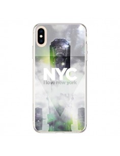 Coque iPhone XS Max I Love New York City Gris Vert - Javier Martinez