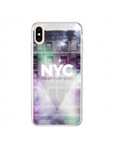 Coque iPhone XS Max I Love New York City Violet Vert - Javier Martinez
