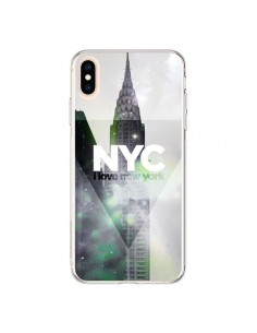 Coque iPhone XS Max I Love New York City Gris Violet Vert - Javier Martinez