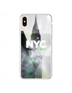 Coque iPhone XS Max I Love New York City Gris Violet Vert - Javier Martinez